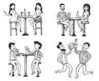 Mann- und Frauentreffen, trinkend an der Bar stockfoto