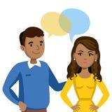 Mann- und Frauenunterhaltung Gespräch von Paaren oder von Freunden Vektor lizenzfreie abbildung