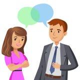 Mann- und Frauenunterhaltung Sitzungskollegen oder -freunde Vektor stock abbildung