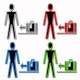 Mann-und Gepäck-Ikonen Lizenzfreies Stockfoto