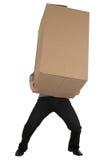 Mann und großer Kartonkasten Stockfotografie