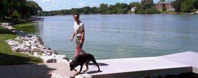 Mann und Hund auf Fluss-Docks Stockfotografie