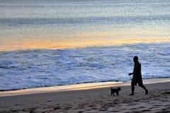 Mann und Hund am Bali-Strand Lizenzfreies Stockfoto