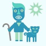 Mann und Hund Flache Ikonenillustration des Vektors Lizenzfreie Stockfotos