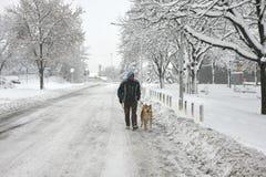 Mann und Hund im Blizzard Stockfoto