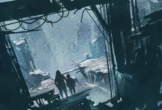 Mann und Junge, die heraus ruinierter Stadt mit Schneesturm betrachtend steht Stockfoto