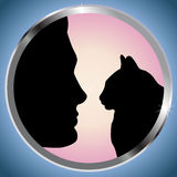 Mann und Katze Stockbild