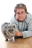 Mann und Katze Stockfotografie