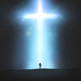 Mann und Kreuz Stockbild