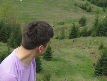 Mann und Landschaft Stockbilder