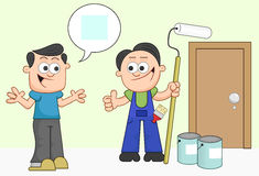 Mann und Maler sind sich über blaue Farbe einig. Lizenzfreie Stockfotos