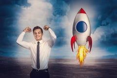 Mann und Rakete Stockbilder