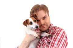 Mann und Steckfassungsrussell-Terrier Stockbilder