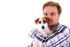 Mann und Steckfassungsrussell-Terrier Stockbild