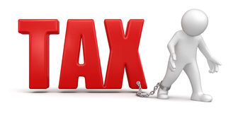 Mann und Steuer (Beschneidungspfad eingeschlossen) Lizenzfreie Stockfotografie