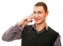 Mann und Telefon Stockbild