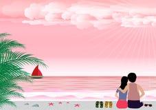 Mann und verliebte Frau mit Sommer setzen in der Küste auf den Strand Hintergrundvektor-Valentinsgrußtageskonzept Lizenzfreie Stockbilder