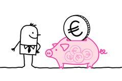 Mann und volle piggy Querneigung Lizenzfreie Stockfotografie