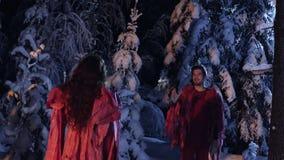 Mann und weibliche in der roten Kleidung stehen und starren entlang einander im Nachtwald an stock footage
