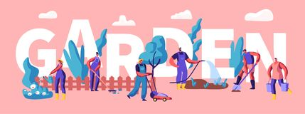 Mann und weibliche Figuren, die von den Anlagen im Garten-Konzept wachsen und sich interessieren Gartenarbeitleute, die, pflanzen vektor abbildung