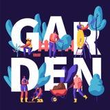 Mann und weibliche Figuren, die von den Bäumen im Garten-Konzept wachsen, pflanzen und sich interessieren Gartenarbeitleute setzt stock abbildung