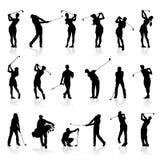 Mann und weiblicher Golf-Schattenbild-Satz vektor abbildung