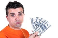 Mann unglücklich mit Rechnungen $-100 Stockbild