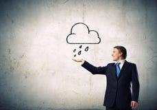 Mann unter Regen Lizenzfreies Stockbild