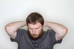 Mann verloren im Gedanken Stockfotos