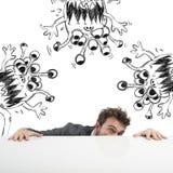 Mann versteckt Virus lizenzfreies stockfoto