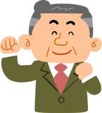 Mann von mittlerem Alter, der einen befriedigenden Lächelnanzug _Manager trägt lizenzfreie abbildung