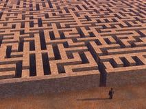 Mann vor Labyrinth lizenzfreies stockbild