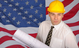 Mann vor USA-Markierungsfahne Lizenzfreies Stockbild