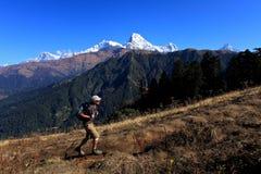 Mann-Wanderer, Himalaja-Berge, Nepal Lizenzfreies Stockbild