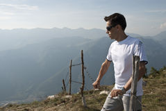 Mann-Wandern Stockfoto
