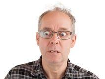 Mann wird über Sometthing versteinert Lizenzfreies Stockbild
