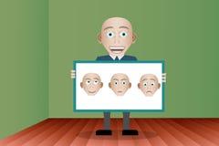 Mann zeigt ein Brett mit den Charakteren Stockbilder