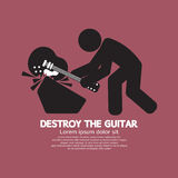 Mann zerstören das Gitarren-Bildzeichen Lizenzfreies Stockbild