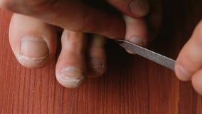 Mann zieht seinen Nägeln auf dem Bein mit einer Nagelfeilenahaufnahme ab Ein Mann macht sich eine Pediküre zu Hause auf dem Boden stock video