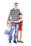 Mann zu seinen netten Kindern Stockbild