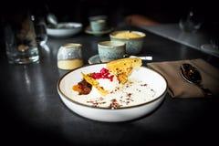 Mannagrynefterrätt, ost, kräm, kakaopulver, kanderad frukt, rån royaltyfri foto