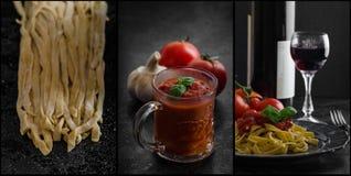 Mannagrynpasta med kryddig tomatsalsa, vitlök och basilika Arkivbilder