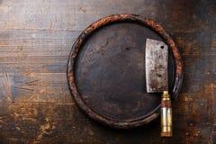 Mannaia di carne e blocchetto della pietra Fotografia Stock