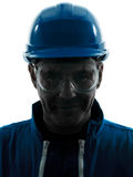 Mannaufbauarbeitskleidungs-Schattenbildportrait Lizenzfreie Stockfotos