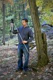 Mannaufstellung für Naturfotographienschuß Lizenzfreie Stockbilder