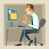 Mannbüroarbeitscomputer Lizenzfreies Stockbild