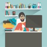 Mannbüroarbeitsplatz Hippie, Designerart Stockbilder