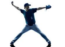 Mannbaseball-spieler-Schattenbild lokalisiert stockfotografie