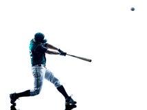 Mannbaseball-spieler-Schattenbild lokalisiert lizenzfreie stockfotografie