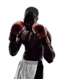 Mannboxer, die lokalisiertes Schattenbild einpacken Lizenzfreies Stockfoto